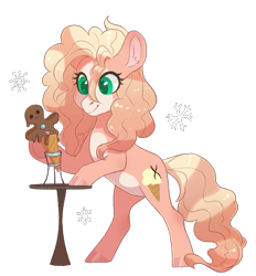 Size: 1783x1922   Tagged: safe, artist:shady-bush, oc, oc:vanilla swirl, earth pony, pony, chocolate, female, food, gingerbread man, ice cream cone, mare, simple background, solo, transparent background