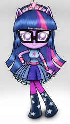 Size: 1080x1920 | Tagged: safe, artist:aryatheeditor, sci-twi, twilight sparkle, equestria girls, equestria girls series, cute, digital art, equestria girls minis, female, glasses, headband, ponied up, pony ears, pose, solo, stars, straight hair, super ponied up