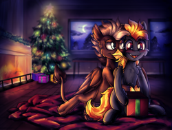 Size: 1652x1250 | Tagged: safe, artist:deraniel, oc, oc:digidash, oc:grimvale, griffon, pegasus, pony, blushing, christmas, christmas tree, couple, fire, fireplace, gay, happy, holiday, huggies, male, moon, new year, present, smiling, smirk, snuggling, tree, window