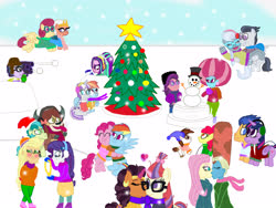 Size: 4032x3024 | Tagged: safe, artist:ktd1993, apple bloom, applejack, aria blaze, cup cake, flash sentry, meadowbrook, microchips, moondancer, pinkie pie, pipsqueak, posey shy, rainbow dash, rarity, rumble, saffron masala, sandbar, silver spoon, somnambula, spoiled rich, twilight sparkle, twilight velvet, windy whistles, yona, alicorn, equestria girls, ariachips, christmas, christmas tree, female, flashlight, holiday, infidelity, kissing, lesbian, male, moonmasala, pinkiedash, pipbloom, rarijack, rumblespoon, shipping, shynambula, snow, snowball, snowman, spoiledcake, straight, tree, twilight sparkle (alicorn), velvetwhistles, yonabar