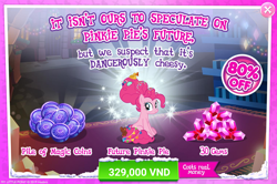 Size: 1554x1032 | Tagged: safe, pinkie pie, earth pony, pony, the last problem, advertisement, costs real money, crack is cheaper, dangerously cheesy, gameloft, gem, implied cheese sandwich, implied cheesepie, implied shipping, implied straight, older, older pinkie pie, pun