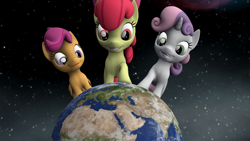 Size: 1920x1080 | Tagged: safe, artist:chapto, apple bloom, scootaloo, sweetie belle, earth pony, pegasus, pony, unicorn, growing up is hard to do, spoiler:s09e22, 3d, cutie mark crusaders, earth, female, filly, macro, pony bigger than a planet, source filmmaker