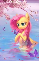 Size: 1932x3000 | Tagged: safe, artist:54600, fluttershy, butterfly, pegasus, pony, cherry blossoms, female, flower, flower blossom, looking at something, mare, raised hoof, solo, three quarter view, tree branch, water, wet mane, wings