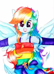 Size: 2313x3194 | Tagged: safe, artist:liaaqila, derpibooru exclusive, rainbow dash, human, equestria girls, belt, clothes, cute, dashabetes, dress, eared humanization, feather, female, humanized, open mouth, ponied up, simple background, solo, traditional art, white background, winged humanization, wings