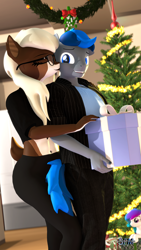 Size: 1080x1920 | Tagged: safe, artist:anthroponiessfm, oc, oc:aurora starling, oc:azure thunder, oc:starry snow, anthro, deer, deer pony, original species, 3d, anthro oc, birthday, christmas, clothes, deer oc, explicit source, female, glasses, holiday, kiss on the cheek, kissing, male, mistletoe, source filmmaker