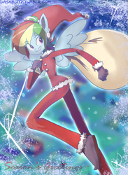 Size: 2200x3000 | Tagged: safe, artist:manic-the-lad, rainbow dash, equestria girls, a dash of everything, christmas, holiday, ponied up, snow, wings
