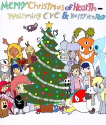 Size: 2543x2991 | Tagged: safe, derpy hooves, wooloo, bender bending rodriguez, blind specter, blue submarine no. 6, bounsweet, chauncey chantenay, christmas, christmas tree, chroniko, comet butterfly, cuphead, deltarune, devilman, dougal, electrode, frosta, futurama, goopy le grande, harvey girls forever, hattifattener, hazbin hotel, hearth's warming eve, holiday, hollow knight, indeedee, invader zim, kaiba (anime), kodama, little audrey, little my, minimoose, mirphy fotoparat, mutio, niffty, noelle (deltarune), plankton, pokémon, princess mononoke, psycarrot, psycho jenny, she-ra and the princesses of power, smile for me, spongebob squarepants, star vs the forces of evil, stinky (moomins), the knight, the magic roundabout, the moomins, tree, undertale, yamper