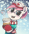 Size: 2388x2859 | Tagged: safe, artist:redcladhero, nurse redheart, earth pony, pony, bust, cheek fluff, clothes, cup, cute, female, hat, heart, heartabetes, hoof hold, hot drink, looking at you, mare, open mouth, scarf, signature, snow, snowfall, solo, winter, winter outfit