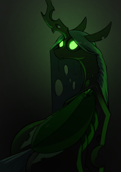 Size: 2480x3508 | Tagged: safe, artist:underpable, queen chrysalis, changeling, changeling queen, black background, creepy, female, glowing eyes, looking at you, looking back, looking back at you, no pupils, simple background, solo