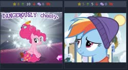 Size: 485x267 | Tagged: safe, screencap, pinkie pie, rainbow dash, earth pony, pony, derpibooru, best gift ever, the last problem, spoiler:s09e26, cute, dashabetes, gameloft, juxtaposition, juxtaposition win, meme, meta, older, older pinkie pie, scrunchy face, sitting, solo, wow! glimmer