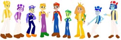 Size: 1280x432 | Tagged: safe, artist:meganthecutegirl1997, artist:selenaede, human, equestria girls, barely eqg related, base used, bedtime bear, blue toad, bowser, brave heart lion, bright heart raccoon, cap, care bears, champ bear, clothes, crossover, crown, do-your-best bear, eqg promo pose set, equestria girls style, equestria girls-ified, facial hair, funshine bear, gloves, grumpy bear, hat, jewelry, luigi, luigi's hat, mario, mario's hat, moustache, mushroom hat, nintendo, overalls, pants, playful heart monkey, purple toad, regalia, shell, shirt, shoes, super mario bros., tenderheart bear, toad (mario bros), undershirt, vest, waluigi, waluigi's hat, wario, wario's hat, yellow toad