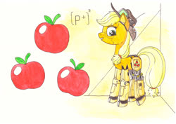 Size: 1280x906   Tagged: safe, artist:zocidem, applejack, cyborg, earth pony, pony, appleborg, augmented, crossover, deus ex, drawing, hat, technology, traditional art