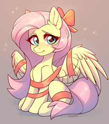Size: 1761x2000 | Tagged: safe, artist:fensu-san, fluttershy, pegasus, pony, bow, christmas, cute, ear fluff, female, gift wrapped, holiday, mare, present, ribbon, shyabetes, sitting, solo, spread wings, wings