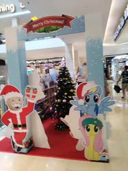 Size: 3016x4032 | Tagged: safe, photographer:horsesplease, fluttershy, rainbow dash, christmas, holiday, malaysia, uncle pennybags