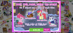 Size: 2436x1125 | Tagged: safe, apple bloom, hondo flanks, pinkie pie, rarity, snails, softpad, starlight glimmer, twilight sparkle, earth pony, pony, unicorn, advertisement, christmas, female, game screencap, gameloft, goldie delicious' scarf, holiday, magic coins, mare, official, older, older apple bloom, older pinkie pie, older rarity, present