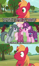 Size: 928x1566 | Tagged: safe, artist:doodleponyxx, edit, edited screencap, screencap, big macintosh, cheerilee, marble pie, sugar belle, earth pony, pony, unicorn, a happy ending for marble pie, apple, apple tree, awkward, best friends, bonding, caption, comic, concerned, confused, conversation, cropped, did not see that one coming, episode idea, everything went better than expected, fanfic idea, female, food, friendship, friendshipping, happy ending, hilarity ensues, huh, husband and wife, male, married couple, not lesbian, not sure if want, oh crap, oh crap face, oh dear, oh dear god, oh god, screencap comic, shipping, shocked, shocked expression, silence, smiling, straight, stunned, sugarmac, surprised, surprised face, sweet apple acres, this will end in laughs, this will not end well, tree, uh oh, unexpected, what a twist, what just happened, worried, you're doomed, you're fucked now, you're screwed, youtube link, youtube link in the description