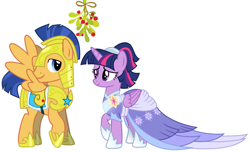 Size: 2091x1273 | Tagged: safe, flash sentry, twilight sparkle, alicorn, the last problem, spoiler:s09e26, armor, christmas, clothes, coronation dress, cute, diasentres, dress, female, flashlight, hearth's warming, heartwarming, holiday, looking at each other, male, mistleholly, mistletoe, royal guard armor, second coronation dress, shipping, shipping fuel, smiling, straight, twiabetes, twilight sparkle (alicorn)