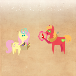 Size: 2000x2000 | Tagged: safe, anonymous artist, big macintosh, fluttershy, pony, series:12 days of hearth's warming, series:fm holidays, 12 days of christmas, box, christmas, fake horn, female, fluttermac, glowing horn, hearth's warming, holiday, horn, male, pointy ponies, shipping, smiling, snow, straight, texture
