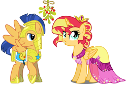 Size: 1880x1272 | Tagged: safe, edit, flash sentry, sunset shimmer, alicorn, alicornified, alternate hairstyle, armor, christmas, clothes, dress, female, flashimmer, holiday, male, mistleholly, mistletoe, race swap, royal guard armor, shimmercorn, shipping, straight, vector