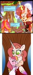 Size: 800x1800 | Tagged: safe, artist:carouselunique, artist:darkageequestia, oc, oc only, oc:honeycrisp blossom, oc:joyous gift, alicorn, earth pony, pony, honeycrisp tales, alicorn oc, blushing, christmas, clothes, crossover, duo, eyes closed, female, filly, freckles, full moon, hearth's warming, holiday, hug, mare, moon, night, offspring, parent:big macintosh, parent:princess cadance, parents:cadmac, present, roller skates, sweater, treehouse