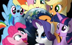 Size: 2560x1600 | Tagged: safe, artist:gtsfets22, applejack, fluttershy, pinkie pie, rainbow dash, rarity, twilight sparkle, pony, earth, giga, macro, mane six, moon, pony bigger than a planet