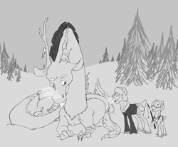 Size: 3300x2715 | Tagged: safe, artist:phobicalbino, discord, oc, oc:far foot, oc:toboggan, deer, clothes, deer oc, fishing rod, gray background, grayscale, hat, male, monochrome, pine tree, simple background, snow, tree