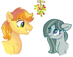 Size: 1929x1488   Tagged: safe, artist:dreamscapevalley, edit, braeburn, marble pie, a happy ending for marble pie, blushing, braebetes, braeble, christmas, cute, eye contact, female, hair tie, hearth's warming, heartwarming, holiday, looking at each other, male, marblebetes, mare, mistleholly, mistletoe, romantic, shipping, shipping fuel, simple background, smiling, stallion, straight, white background