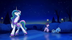 Size: 1920x1080 | Tagged: safe, artist:anticular, princess celestia, starlight glimmer, trixie, alicorn, pony, unicorn, celestia is amused, christmas, clothes, face down ass up, female, floppy ears, hat, holiday, ice, ice skating, mare, mittens, necc, night, scarf, starlight glimmer is amused, trixie is not amused, unamused, varying degrees of amusement, youtube link