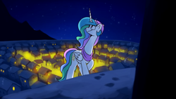 Size: 1920x1080 | Tagged: safe, artist:anticular, princess celestia, alicorn, pony, christmas, clothes, female, hat, holiday, mare, necc, night, scarf, snow, solo, town, youtube link