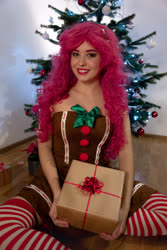 Size: 4000x6000   Tagged: safe, artist:pinkiekler, pinkie pie, human, absurd resolution, christmas, christmas tree, clothes, cosplay, costume, dress, holiday, irl, irl human, photo, present, socks, solo, stockings, striped socks, thigh highs, tree