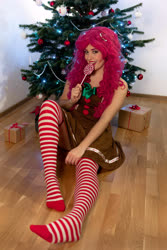 Size: 4000x6000   Tagged: safe, artist:pinkiekler, pinkie pie, human, absurd resolution, candy, christmas, christmas tree, clothes, cosplay, costume, dress, food, holiday, irl, irl human, lollipop, photo, present, socks, solo, stockings, striped socks, thigh highs, tree