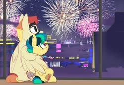 Size: 1493x1019   Tagged: safe, artist:shinodage, oc, oc only, oc:apogee, oc:jet stream, pegasus, pony, body freckles, cute, ear freckles, father and daughter, female, filly, fireworks, freckles, hug, male, sitting, stallion, teenager, winghug, wings