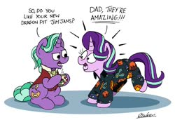 Size: 1024x701 | Tagged: safe, artist:bobthedalek, firelight, starlight glimmer, board game, clothes, cute, dragon pit, father and daughter, fathers gonna father, female, firebetes, glim glam's jim jams, glimmerbetes, male, mug, pajamas, smug