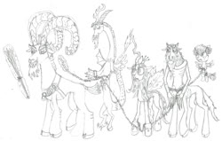Size: 1024x650 | Tagged: safe, artist:mediocre-grimm, cozy glow, discord, grogar, lord tirek, queen chrysalis, centaur, changeling, draconequus, goat, pegasus, pony, angry, bow, chains, christmas, cloven hooves, collar, crown, discord gonna get it, hair bow, hearth's warming, hearth's warming eve, holiday, horns, jewelry, krampus, legion of doom, losers club, manacles, nose piercing, nose ring, piercing, regalia, switch, the real grogar