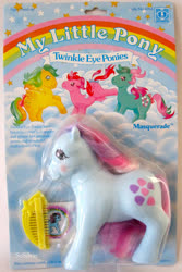 Size: 669x1000 | Tagged: safe, fizzy, galaxy (g1), masquerade (g1), sweet stuff, twinkle eyed pony, comb, g1, official, packaging, text, toy, you had one job