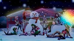 Size: 4154x2346   Tagged: safe, artist:mauroz, apple bloom, applejack, fluttershy, pinkie pie, rainbow dash, rarity, scootaloo, spike, sweetie belle, twilight sparkle, human, anime, christmas, christmas lights, converse, cutie mark crusaders, holiday, humanized, mane seven, mane six, shoes, sleeping, snow, snowman