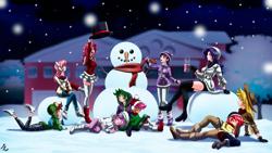 Size: 4154x2346   Tagged: safe, alternate version, artist:mauroz, apple bloom, applejack, fluttershy, pinkie pie, rainbow dash, rarity, scootaloo, spike, sweetie belle, twilight sparkle, human, anime, converse, cutie mark crusaders, eyes closed, humanized, mane seven, mane six, shoes, sleeping, snow, snowman