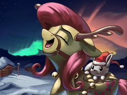 Size: 3249x2437   Tagged: safe, artist:nookprint, angel bunny, fluttershy, pegasus, pony, antlers, aurora borealis, bell, christmas, cute, duo, eyes closed, female, hat, high res, holiday, mare, night, open mouth, reindeer antlers, santa hat, shyabetes, sky, snow, stars