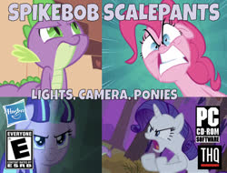 Size: 637x484 | Tagged: safe, edit, edited screencap, editor:undeadponysoldier, screencap, pinkie pie, rarity, spike, starlight glimmer, dragon, earth pony, pony, unicorn, series:spikebob scalepants, dragon quest, owl's well that ends well, pinkie pride, the cutie map, angry, box art, cd-rom, evil, faic, female, lights camera pants, male, mare, one of these things is not like the others, parody, pc, pc logo, s5 starlight, spongebob squarepants, thq, thq logo, video game