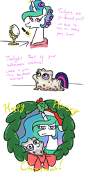 Size: 1007x2038 | Tagged: safe, artist:jargon scott, princess celestia, twilight sparkle, alicorn, pony, unicorn, christmas, christmas wreath, clothes, comic, costume, dialogue, female, hair curlers, halloween, halloween costume, holiday, magic, makeup, mare, mirror, no pupils, part of a set, photo, princess celestia is not amused, simple background, telekinesis, twiggie, white background, wreath