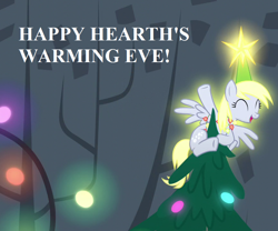Size: 864x720 | Tagged: safe, edit, edited screencap, screencap, derpy hooves, a hearth's warming tail, bronybait, cropped, cute, derpabetes, derpy star, glow, hearth's warming decorations, hearth's warming eve, hearth's warming tree, speech, tree