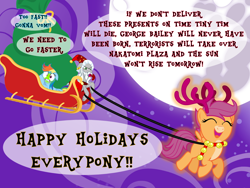 Size: 1024x768   Tagged: safe, artist:bronybyexception, rainbow dash, scootaloo, star swirl the bearded, deer, pegasus, pony, reindeer, unicorn, a christmas carol, advent calendar, antlers, christmas, clothes, costume, cute, cutealoo, deerified, die hard, discworld, dizzy, happy holidays, hogfather, holiday, imminent vomiting, it's a wonderful life, mare in the moon, markings, moon, motion sickness, movie reference, night, pale belly, reindeer antlers, santa costume, santa hooves, santa sack, scootadeer, scootaloo can fly, sick, sleigh, species swap