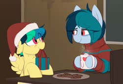 Size: 1493x1019 | Tagged: safe, artist:shinodage, oc, oc only, oc:apogee, oc:delta vee, pegasus, pony, chocolate, christmas, clothes, coffee, cookie, cup, cute, diageetes, diaveetes, duo, duo female, eye clipping through hair, female, floppy ears, food, freckles, hat, hearth's warming eve, holiday, hooves on the table, hot chocolate, i <3 u, looking at each other, mare, mother and daughter, mouth hold, ocbetes, plate, present, santa hat, smiling, spread wings, wings