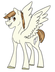 Size: 2490x3300 | Tagged: safe, artist:phobicalbino, featherweight, pegasus, pony, male, older, older featherweight, simple background, solo, stallion, white background