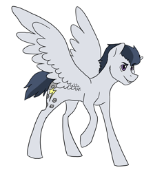 Size: 2934x3300 | Tagged: safe, artist:phobicalbino, rumble, pegasus, pony, male, older, older rumble, simple background, solo, spread wings, stallion, white background, wings