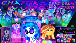 Size: 1280x731 | Tagged: safe, bulk biceps, curly winds, dj pon-3, duke suave, fluttershy, fry lilac, hunter hedge, ink jet, kiwi lollipop, laurel jade, lemon zack, microchips, mile hill, some blue guy, space camp (character), sunset shimmer, supernova zap, twilight sparkle, vinyl scratch, wiz kid, equestria girls, equestria girls series, rainbow rocks, sunset's backstage pass!, the last drop, spoiler:choose your own ending (season 2), spoiler:eqg series (season 2), blushing, chapter image, clothes, fanfic, fanfic art, fanfic cover, glowstick, k-lo, mc dex fx, micro chips, postcrush, su-z