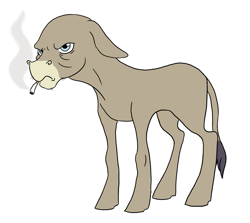 Size: 1925x1715 | Tagged: safe, artist:phobicalbino, cranky doodle donkey, donkey, bald, cigarette, grumpy, male, missing accessory, simple background, smoke, solo, white background