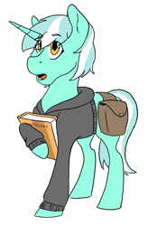 Size: 1439x2200 | Tagged: safe, artist:phobicalbino, lyra heartstrings, pony, unicorn, book, clothes, female, hoodie, hoof hold, mare, saddle bag, simple background, solo, white background