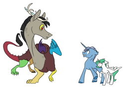 Size: 4977x3552 | Tagged: safe, artist:phobicalbino, discord, princess celestia, star swirl the bearded, alicorn, draconequus, pony, unicorn, colt, colt starswirl, curious, defensive, female, filly, filly celestia, foal, green-mane celestia, male, raised hoof, simple background, trio, white background, young discord, younger