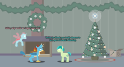 Size: 5500x3000 | Tagged: safe, artist:gd_inuk, gallus, ocellus, sandbar, changedling, changeling, earth pony, griffon, pony, blank eyes, box, christmas, empty eyes, female, fireplace, flying, hearth's warming, hearth's warming tree, holiday, indoors, lineless, male, no mouth, no pupils, tree, trio, wreath